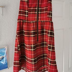 Plaid holiday flannel strapless mini dress